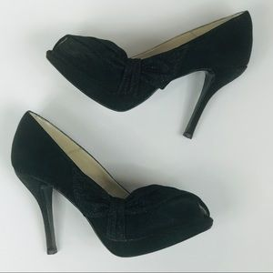 Black Peep Toe Pumps Satin Caparros Size 10B